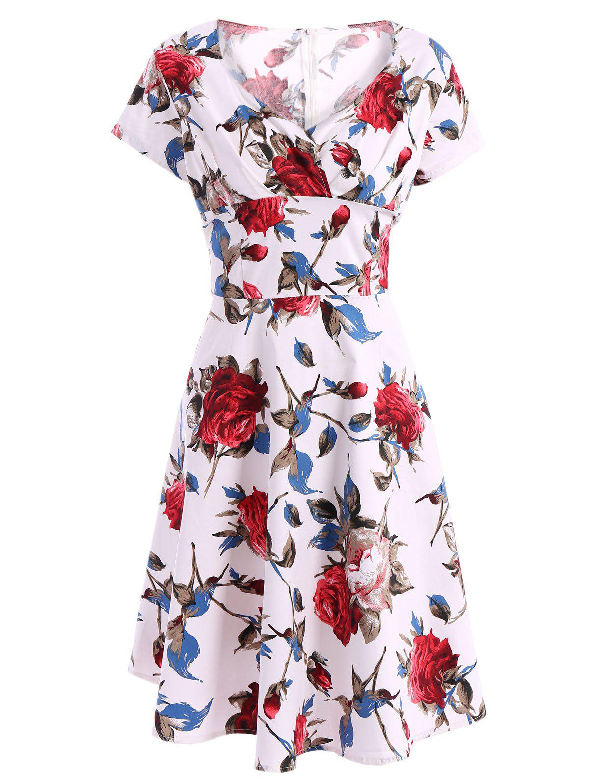 Retro Short Sleeve Sweetheart Neck Printed Women's Pin Up Dress - RED 2XL