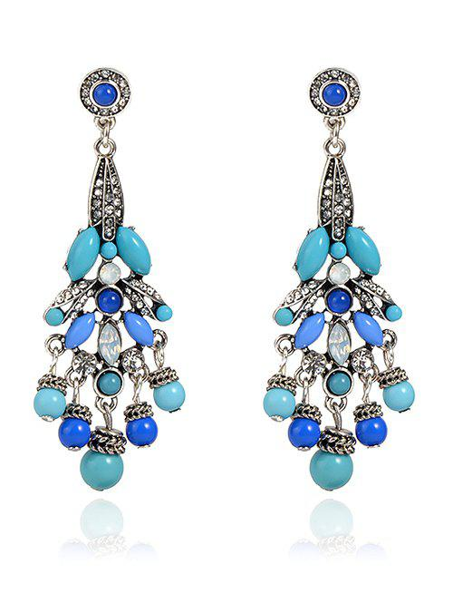 Noble Rhinestone Beaded Earrings - BLUE