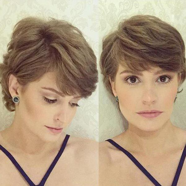 Elegant Short Synthetic Fluffy Natural Wave Light Brown Capless Wig For Women