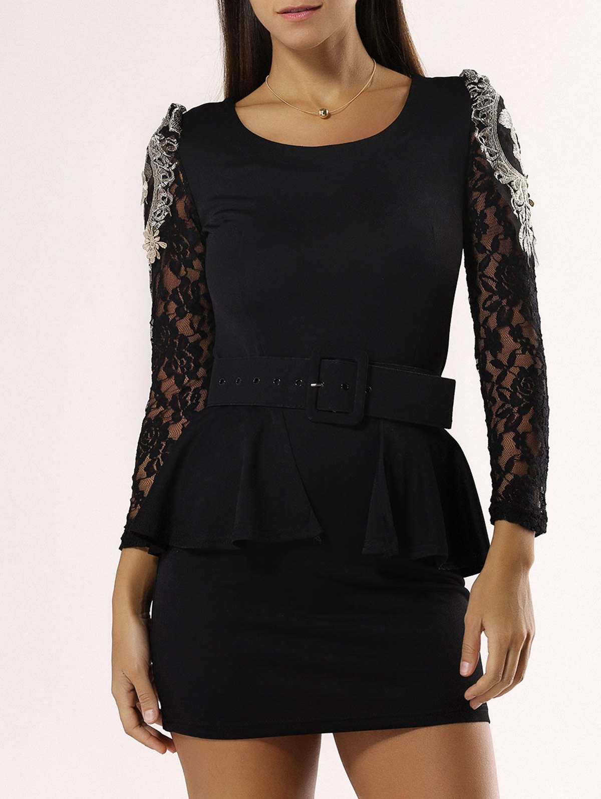 Elegant Flounce Lace Belted Dress For Women - BLACK XL