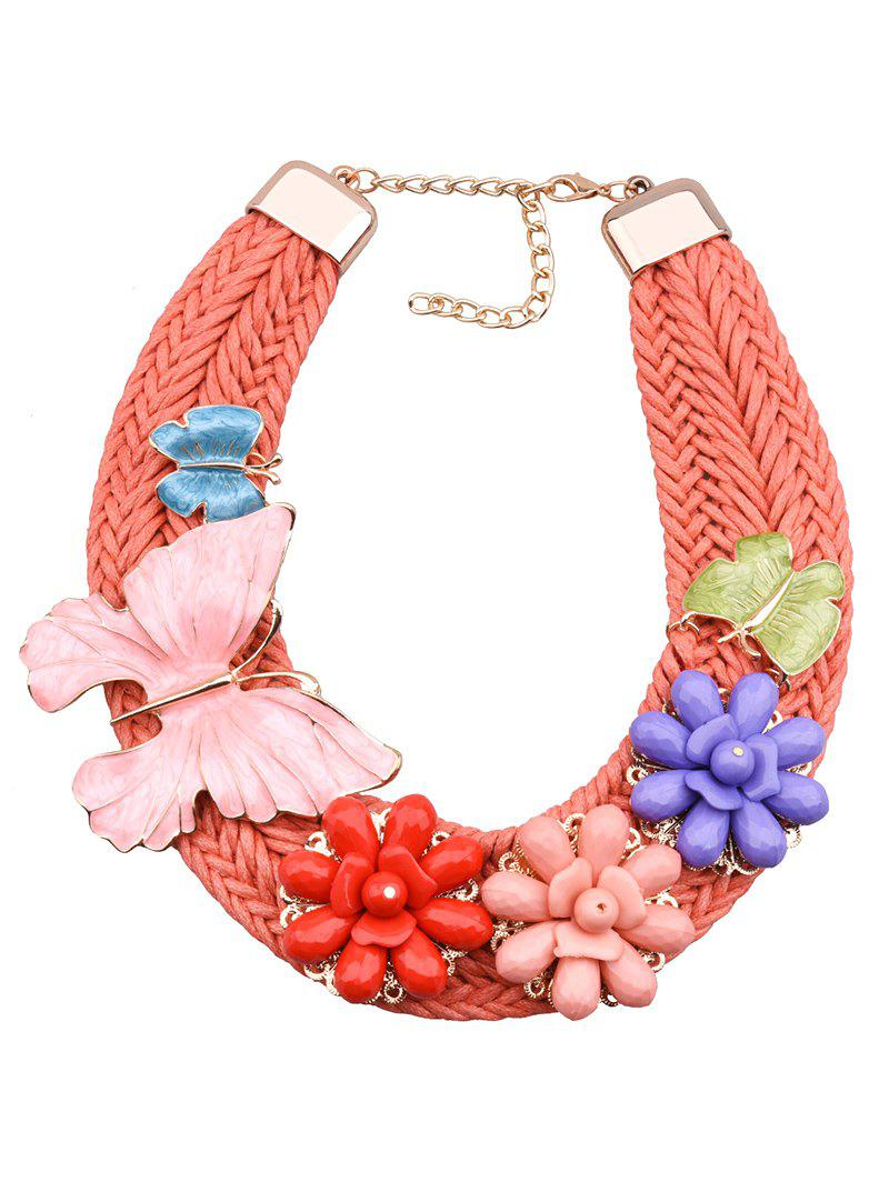 Bohemian Floral Butterfly Woven Necklace - COLORMIX