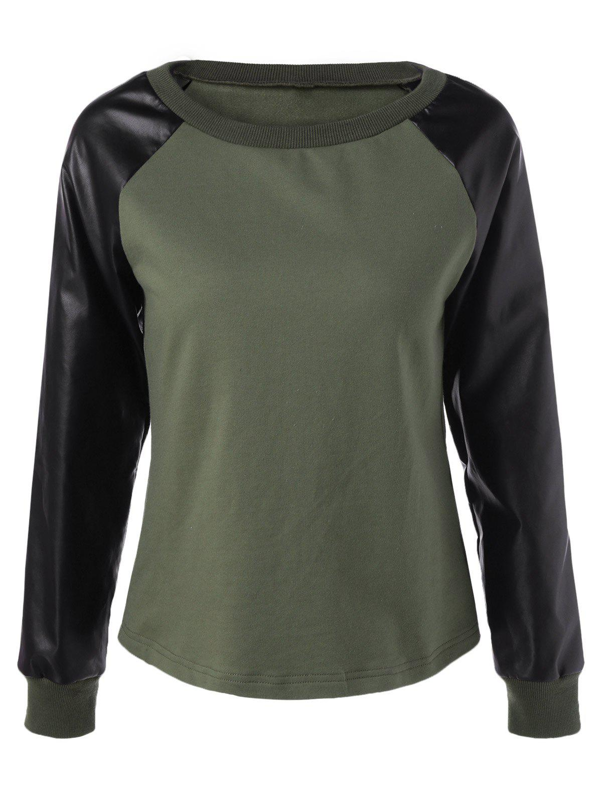 Chic Raglan Sleeve PU Patchwork Sweatshirt - ARMY GREEN XL