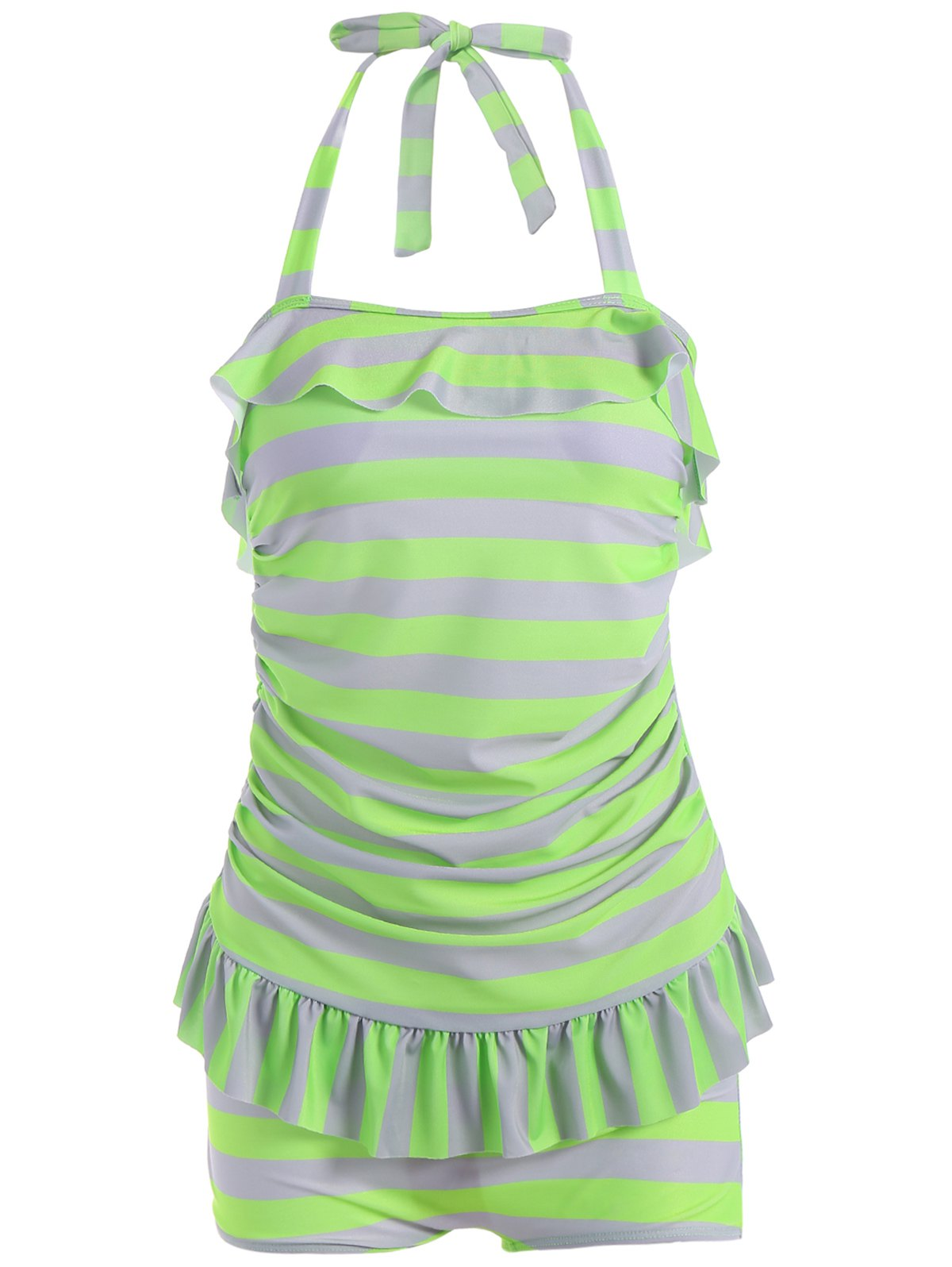 Halter Flounced Striped Boyleg Tankini Set - GREEN XL