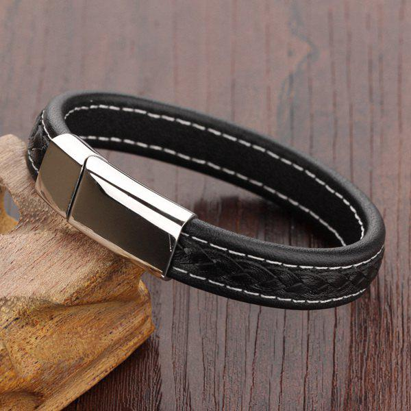 Simple Magnetic Buckle Faux Leather Bracelet For Men - BLACK