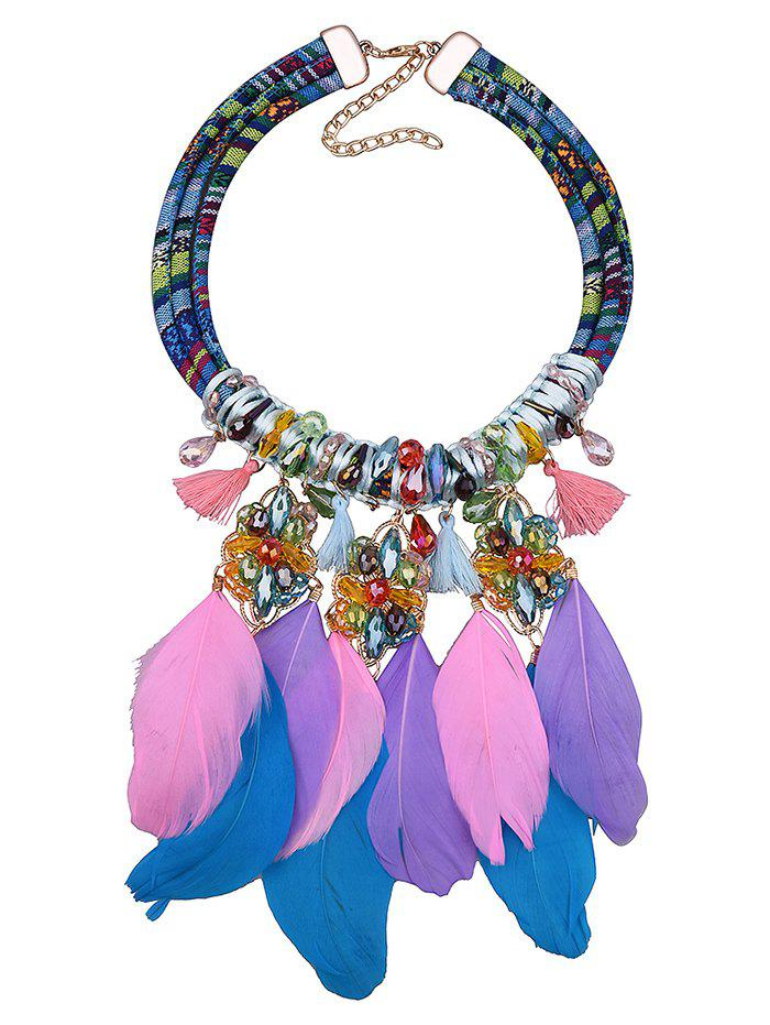 Bohemian Style Feather Floral Tassel Necklace - COLORMIX