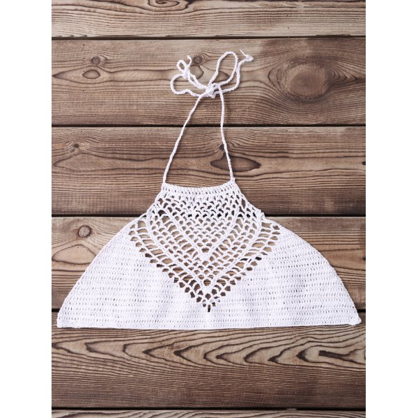 Sexy Halter Hollow Out Solid Color Crochet Women's Tank Top