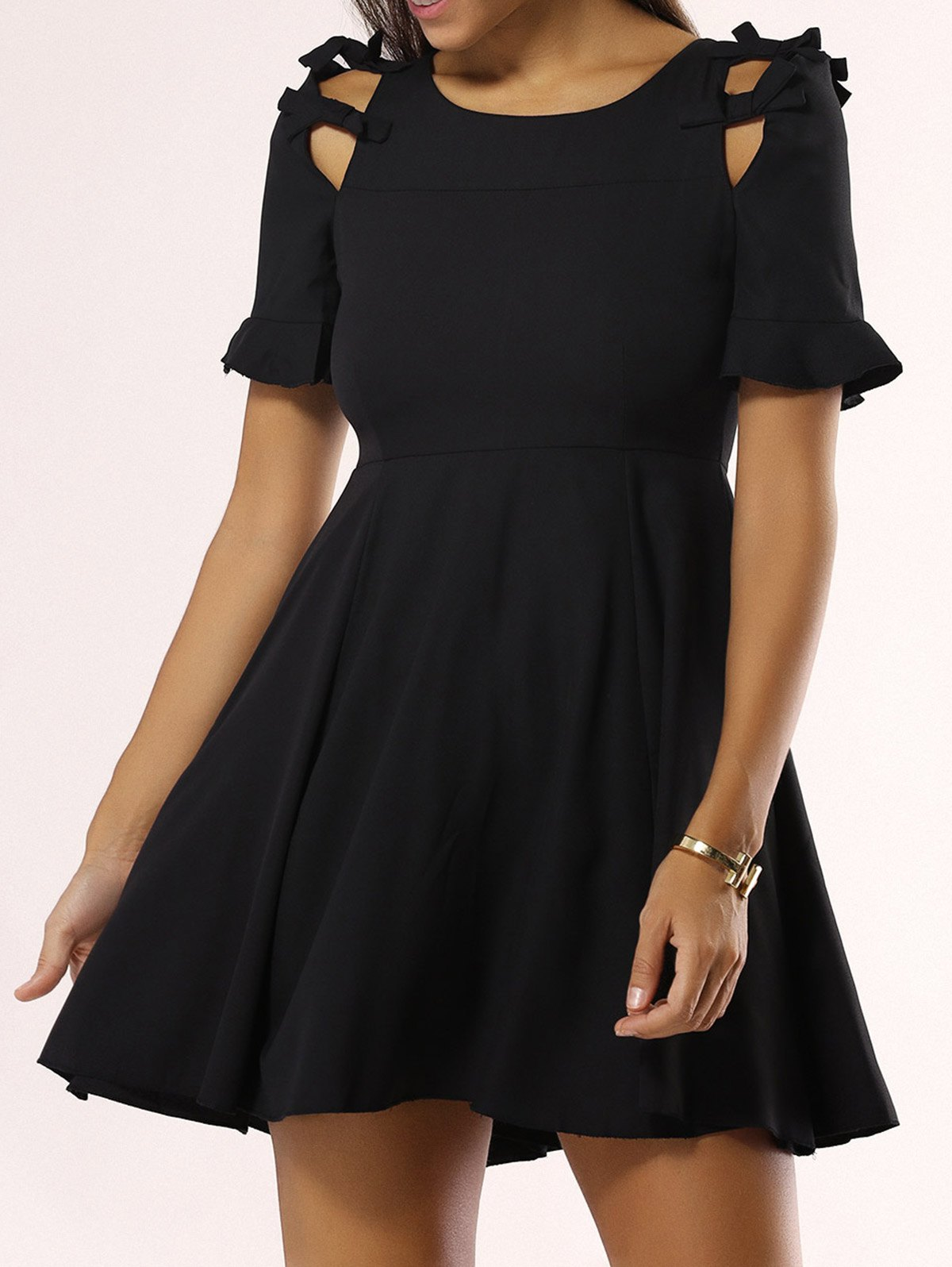 Stunning Bowknot Hollow Out Dress For Women - BLACK XL