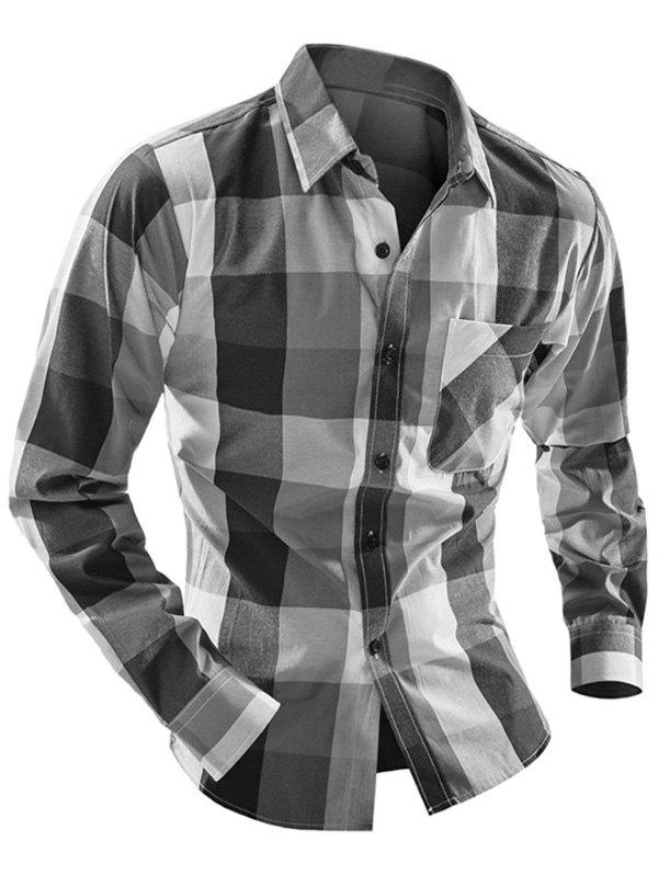 Pocket Front Plaid Turn-down Collar Long Sleeve Men's Shirt - GRAY XL