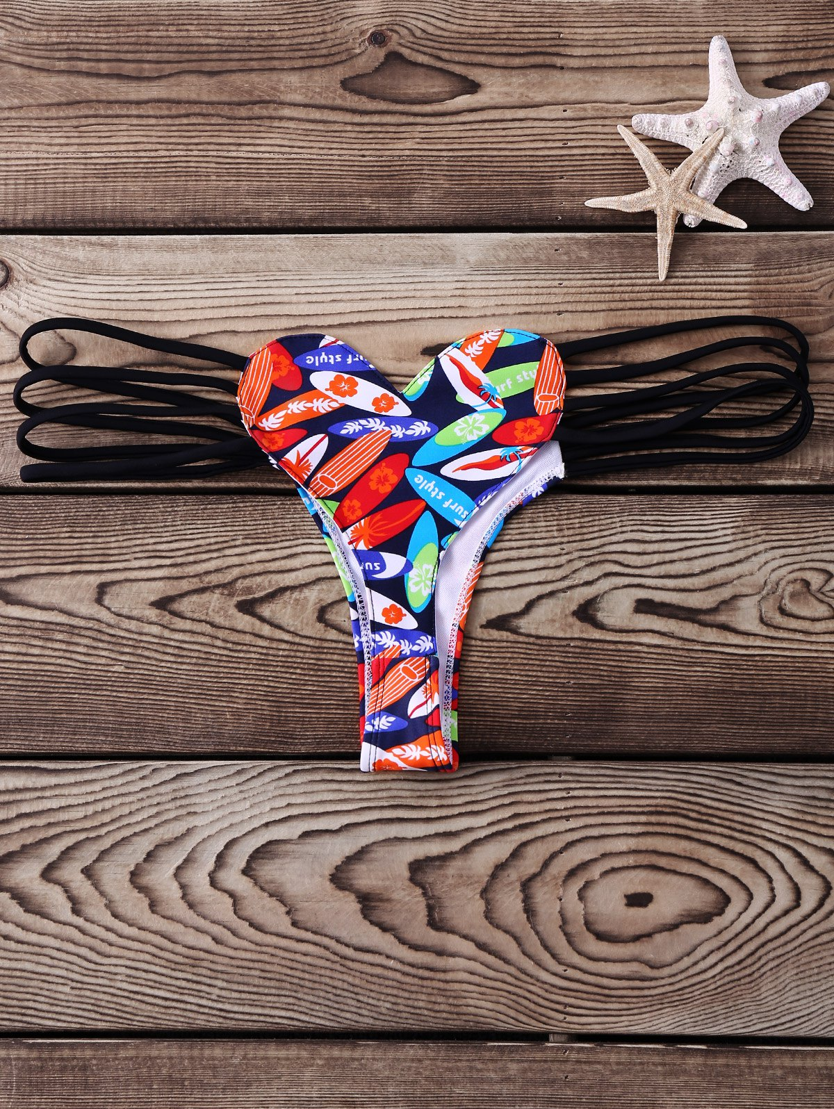 Alluring Low-Waisted Hollow Out Heart Pattern Printed Women's Briefs