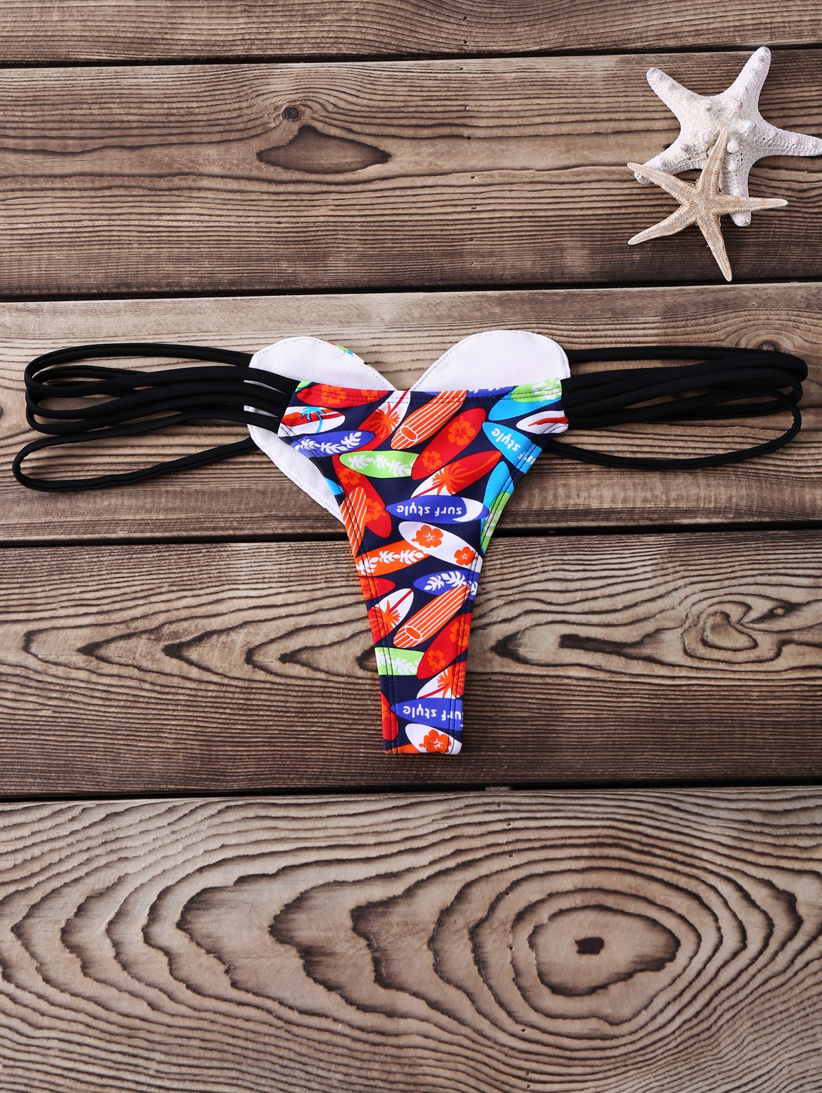 Alluring Low-Waisted Hollow Out Heart Pattern Printed Women's Briefs - BLACK M