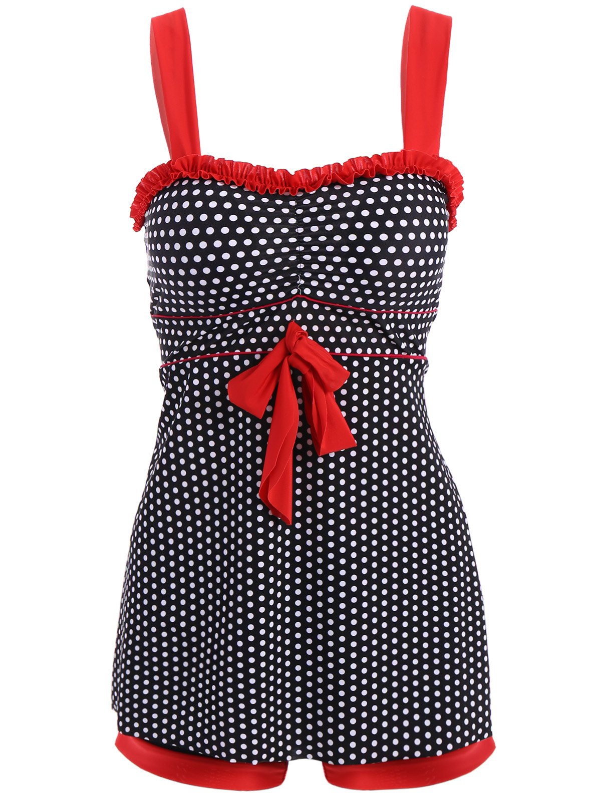Chic Polka Dot Print Dress and Boxers Swimming Suit For Women - BLACK 4XL