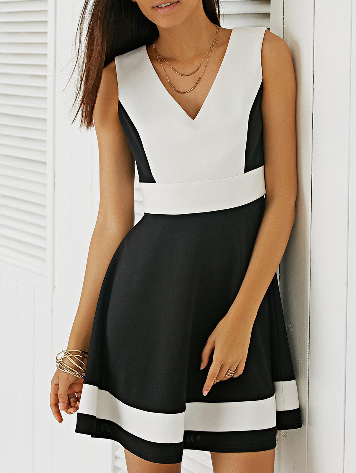 Sweet Color Block Fit and Flare Dress - WHITE/BLACK S