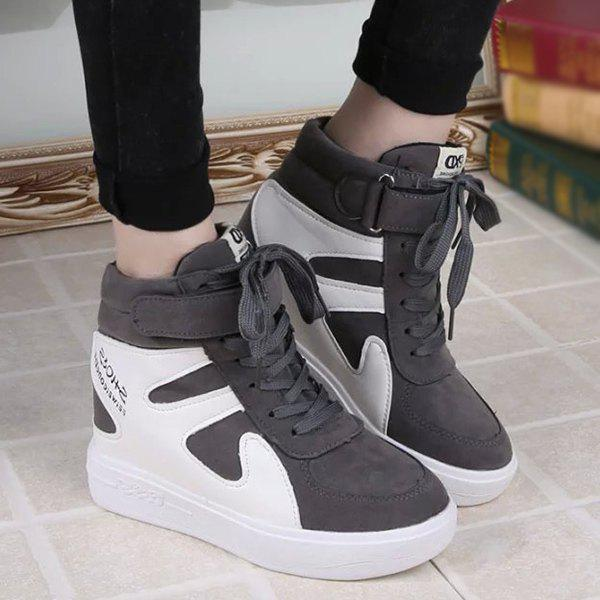 Stylish Hidden Wedge and Color Blcok Design Women's Sneakers