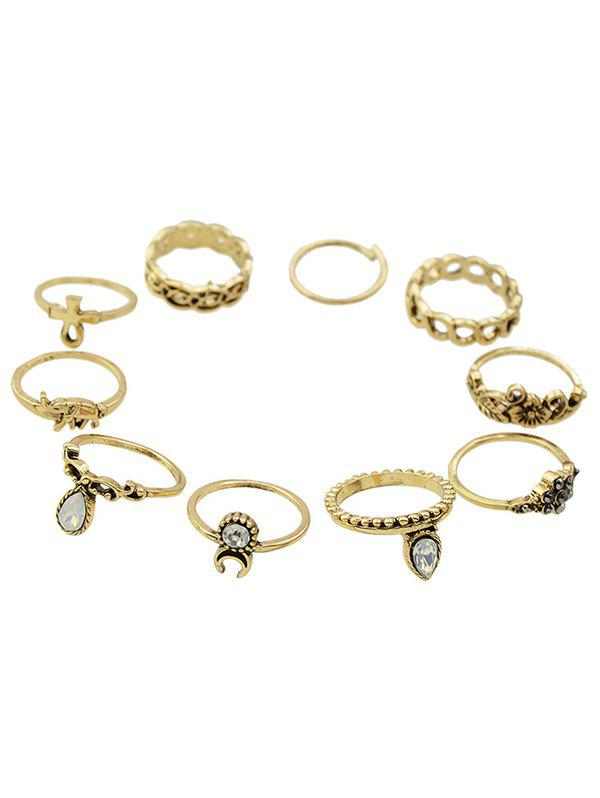 Rhinestone Elephant Floral Rings - GOLDEN ONE-SIZE
