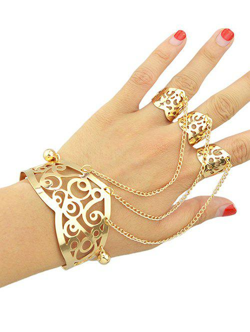 Vintage Hollow Out Bracelet With Ring - GOLDEN ONE-SIZE