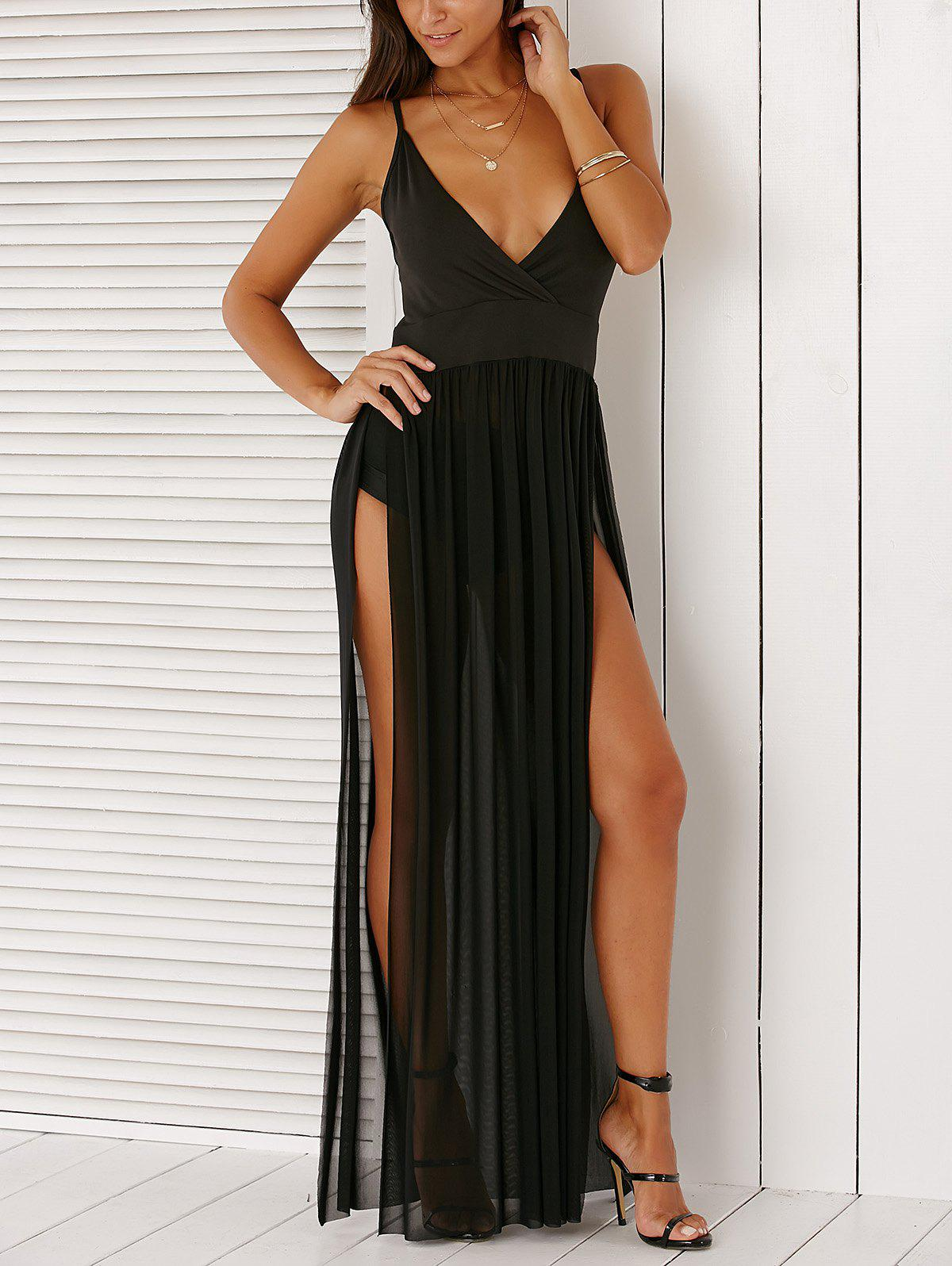 Spaghetti Strap High Slit Backless Maxi Black Dress For Women - BLACK XL