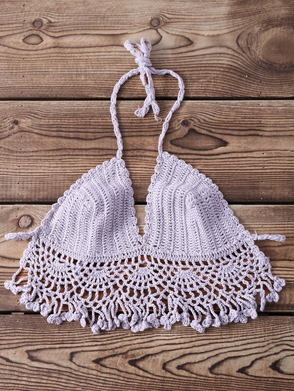 Sexy Halter Sleeveless Solid Color Knitted Fringed Women's Bra - GRAY ONE SIZE(FIT SIZE XS TO M)