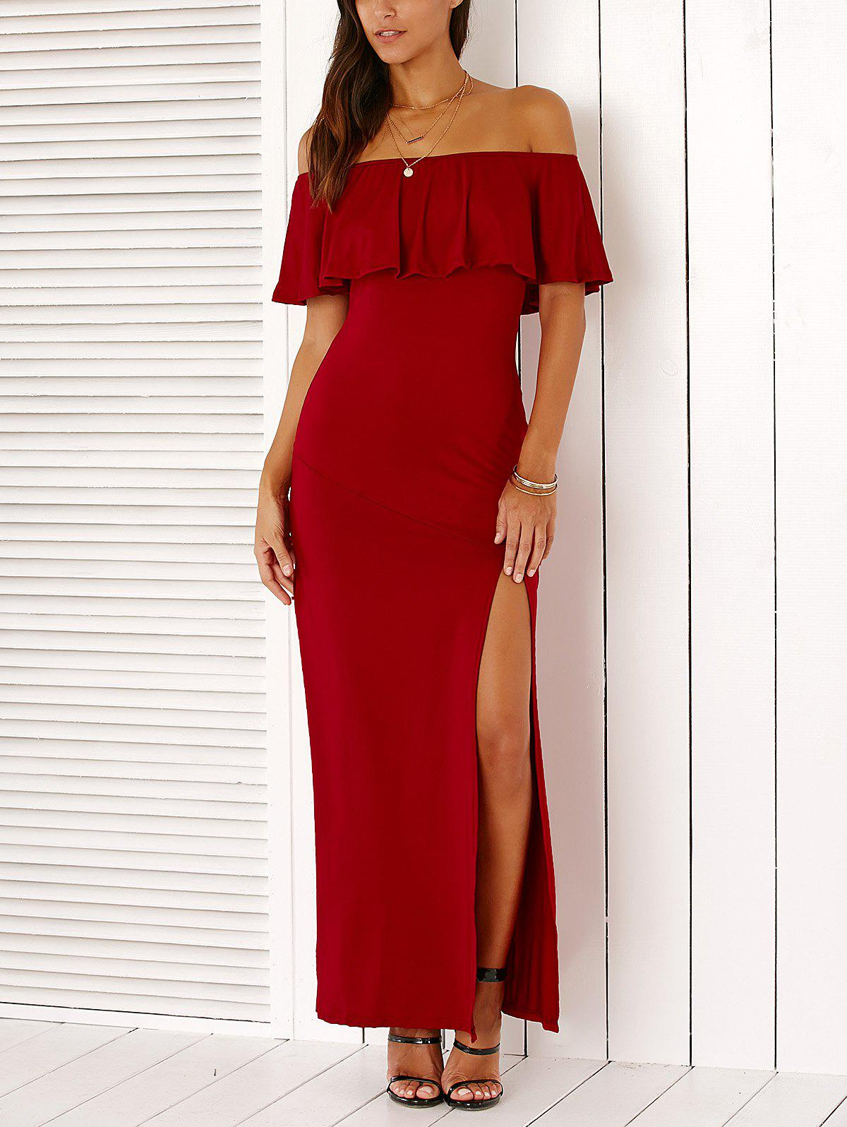 Stylish Off The Shoulder High Slit Solid Color Maxi Dress - RED XL