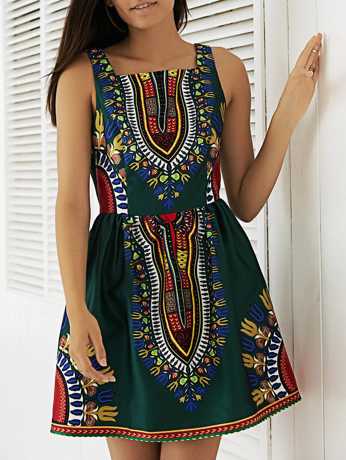 Women's Vintage Square Collar Tribal Print A-Line Dress - BLACKISH GREEN XL