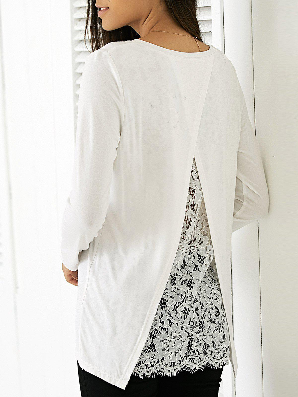 Elegant Women's Round Neck Long Sleeve Solid Color Blouse - WHITE XL