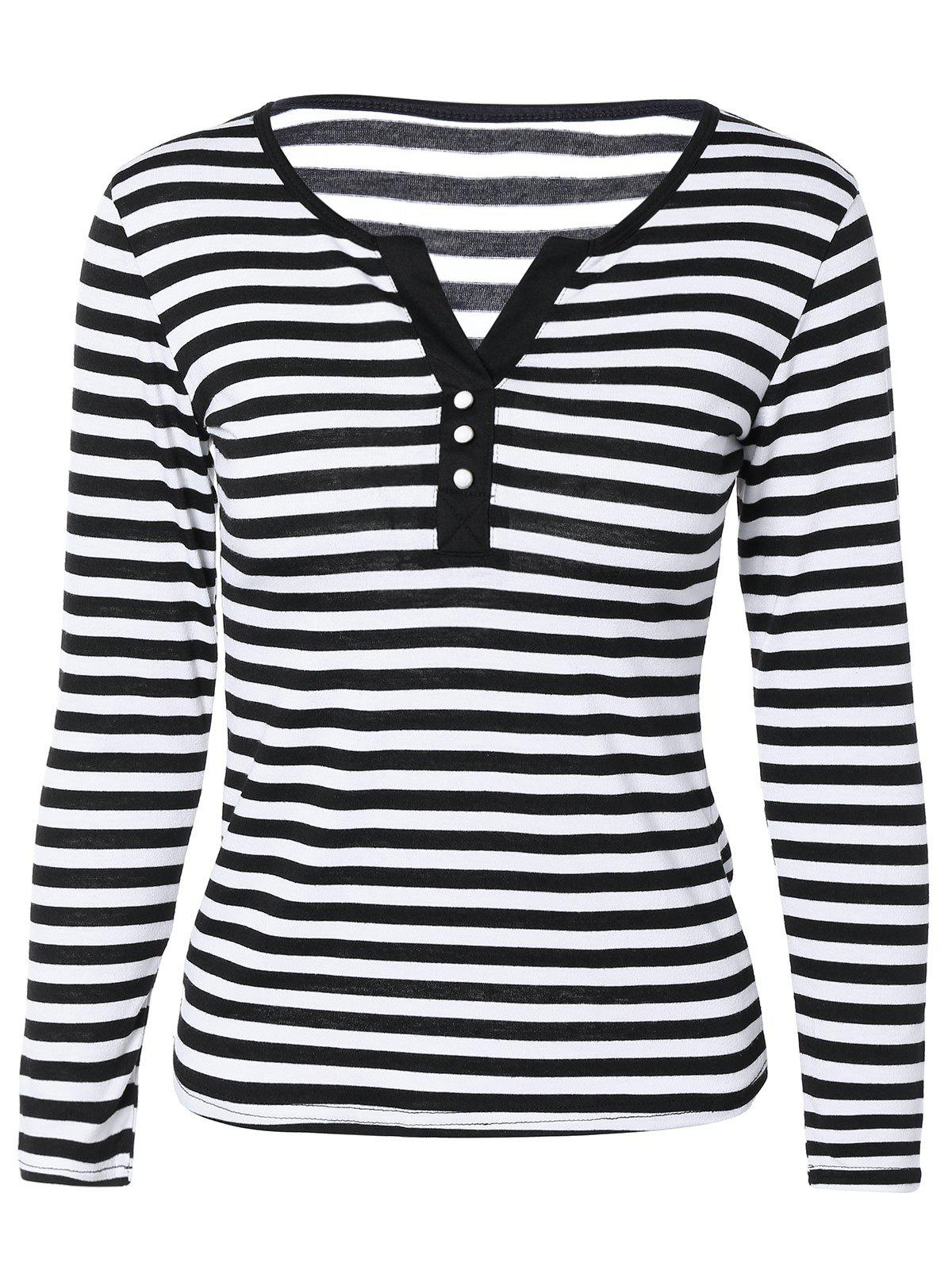 Casual Buttoned Striped Top For Women - WHITE/BLACK 2XL