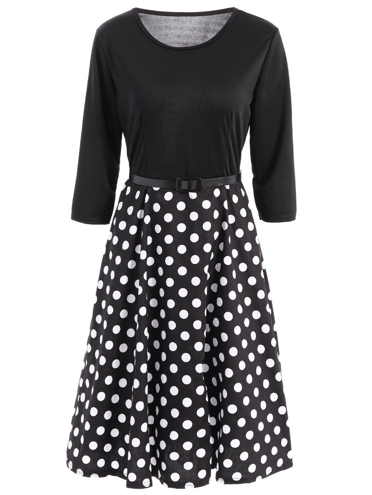 Vintage Belted 3/4 Sleeve Polka Dot Fit and Flare Dress For Women - BLACK XL