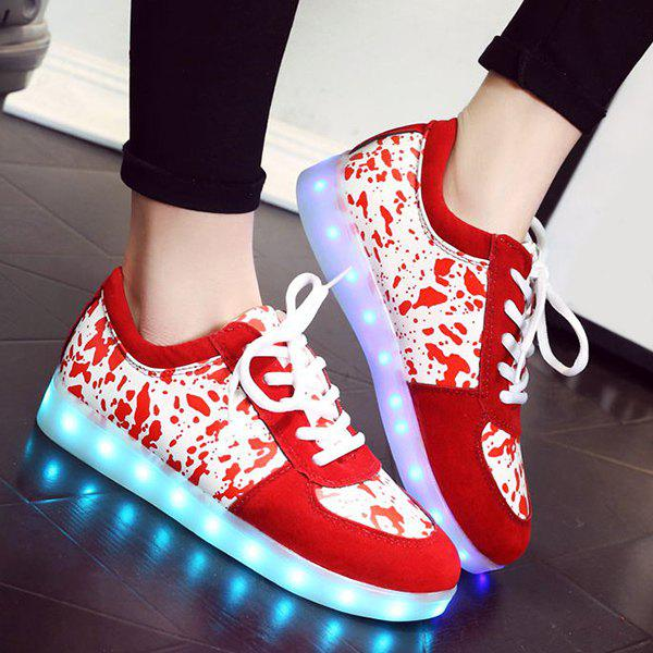 Stylish Lighted and Print Design Women's Sneakers - RED 43