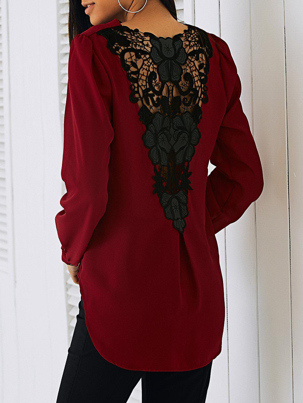 Surplice Lace Blouse Patchwork - Rouge XL