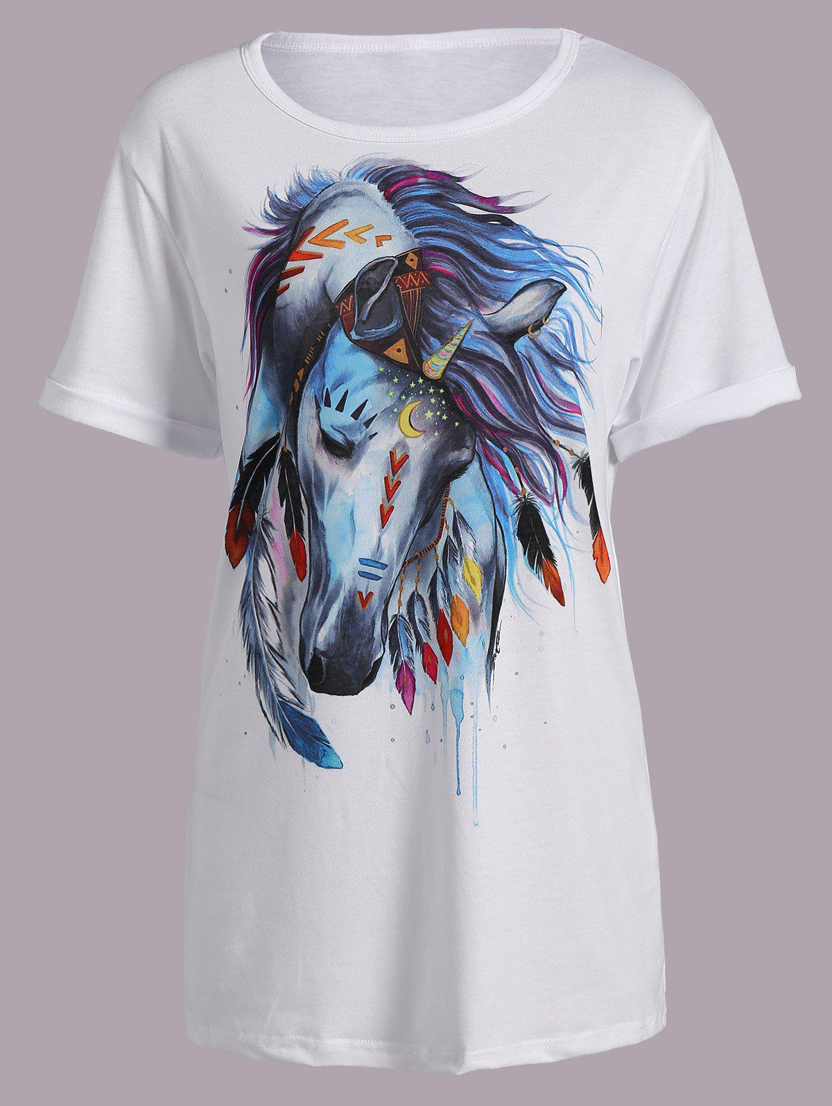 Casual Horse Print Short Sleeve Round Neck Women's T-Shirt - WHITE XL