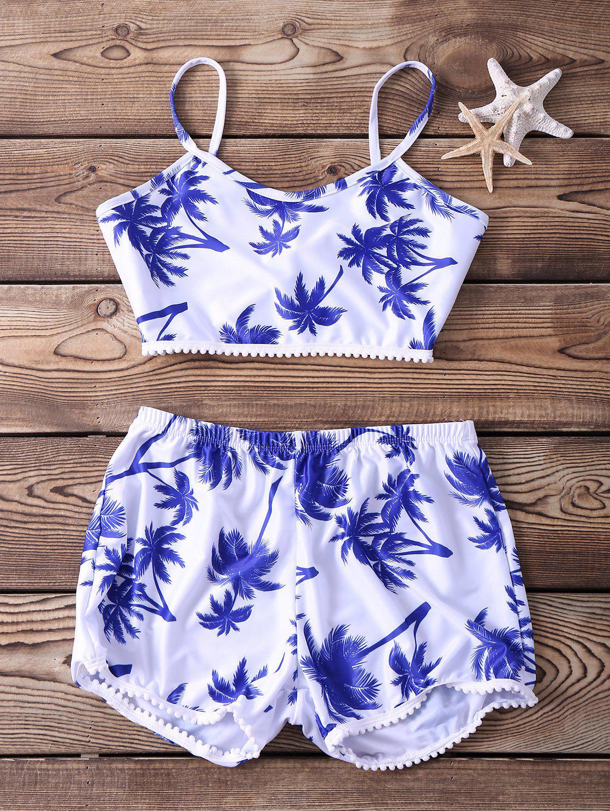 Stylish Spaghetti Strap Two-Piece Printed Women's Swimsuit - BLUE/WHITE L