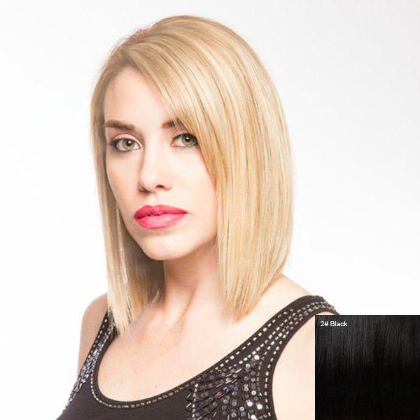 Women's Unprocessed Short Straight Side Parting Lace Front Human Hair Wig - BLACK