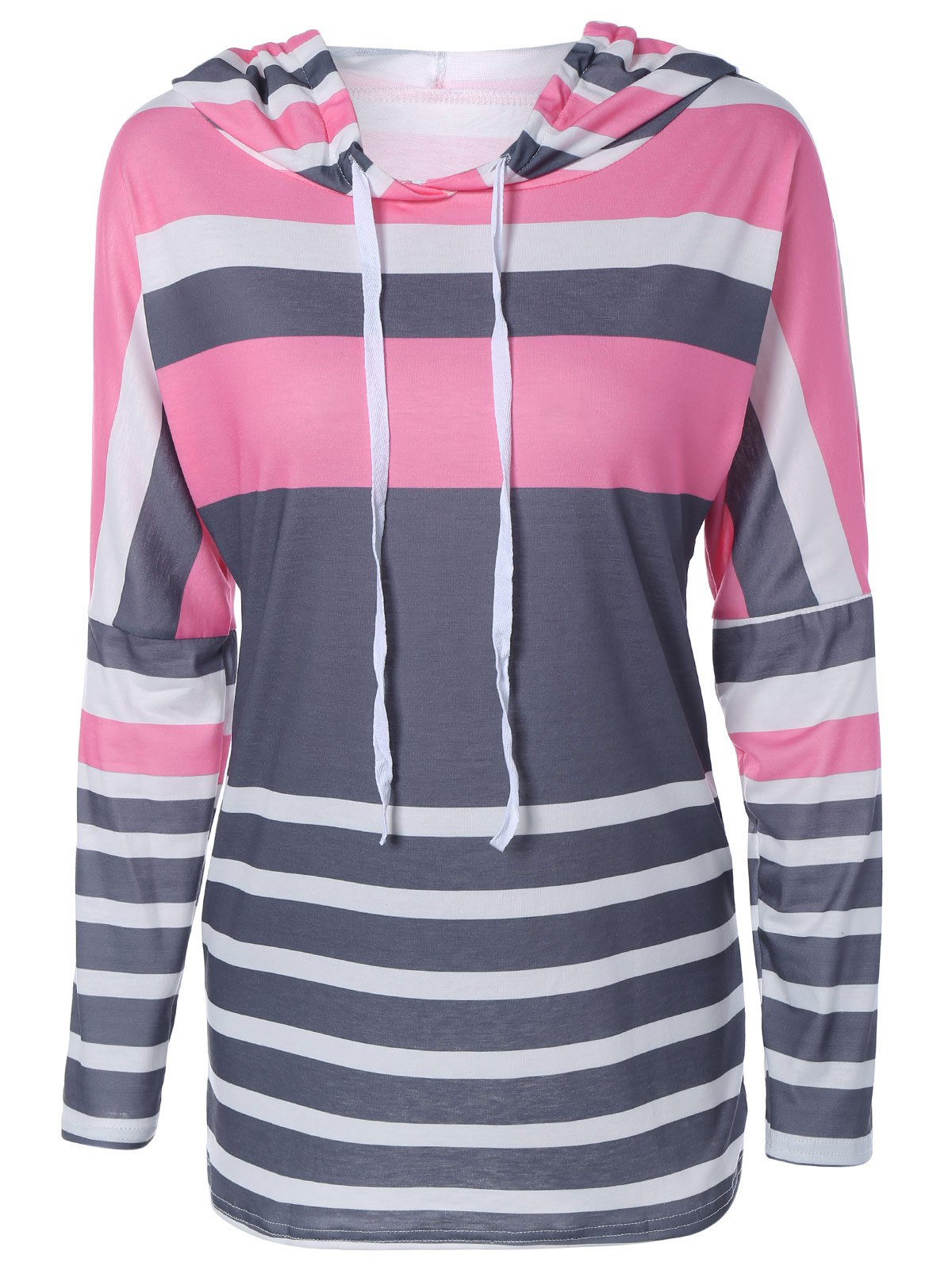 Fashionable Long Sleeve Color Block Hoodie For Women - PINK / GRAY XL