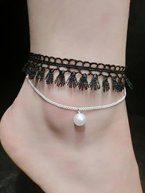 Handmade Faux Pearl Tassel Layered Anklet - SILVER