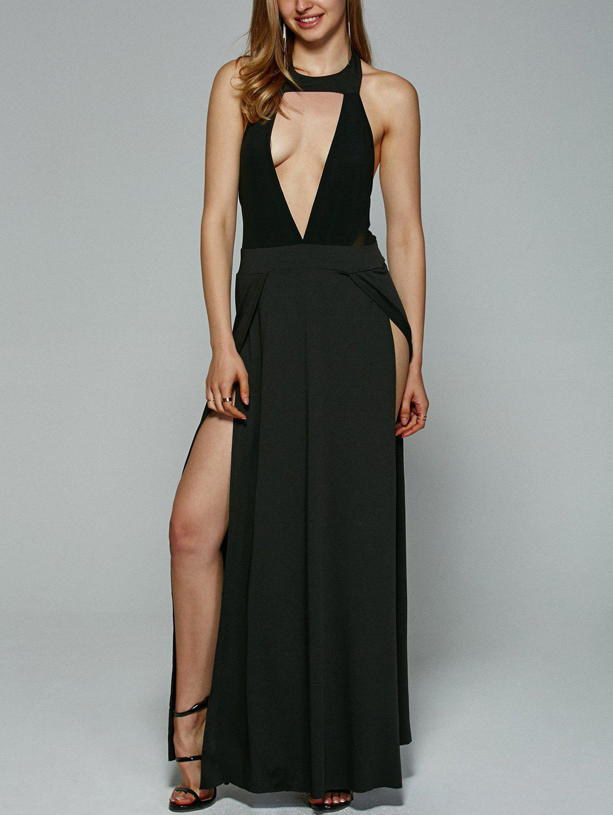 Alluring Backless Hollow Out High Slit Maxi Dress For Women - BLACK XL