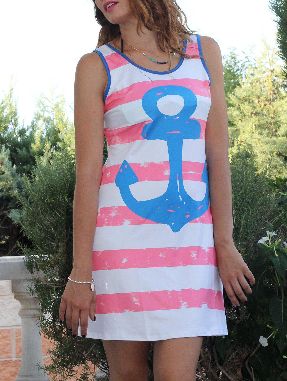 Leisure Scoop Collar Sleeveless Anchor Print Striped Women's Sundress - RED M