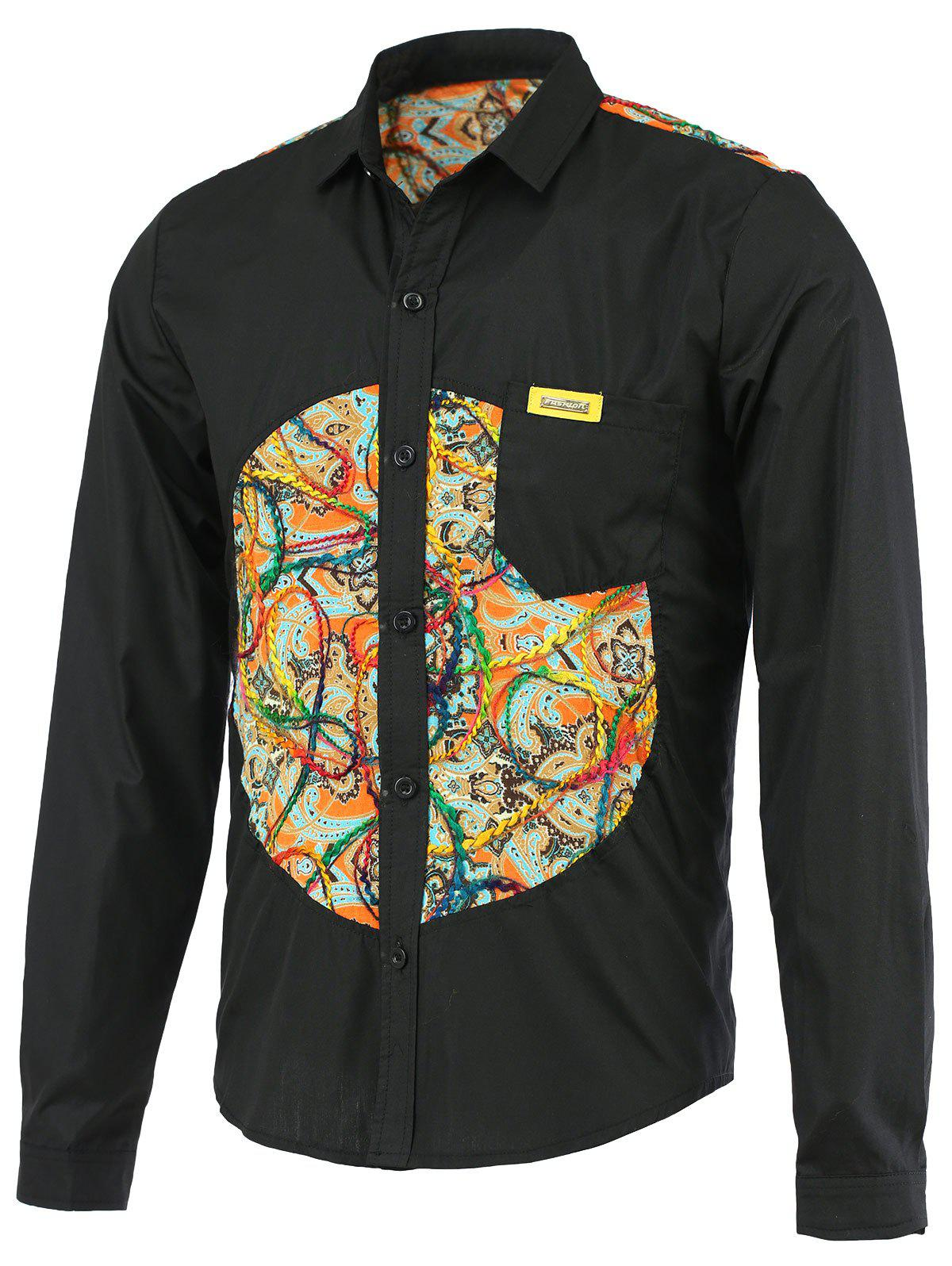 Turn-Down Collar Paisley Pattern Splicing Design Long Sleeve Men's Shirt - BLACK 2XL