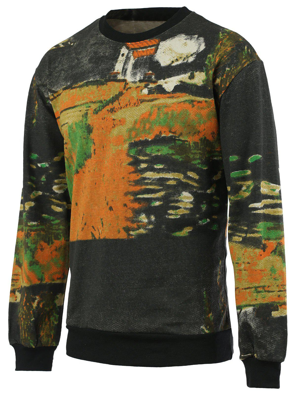 Chic Painting Print Round Neck Long Sleeves Sweatshirt For Men