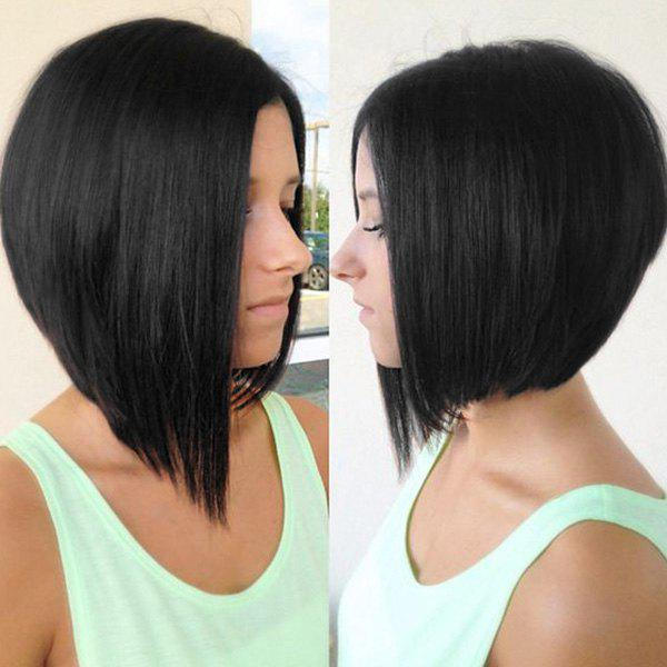 Women's Faddish Short Straight Side Parting Lace Front Human Hair Wig - BLACK
