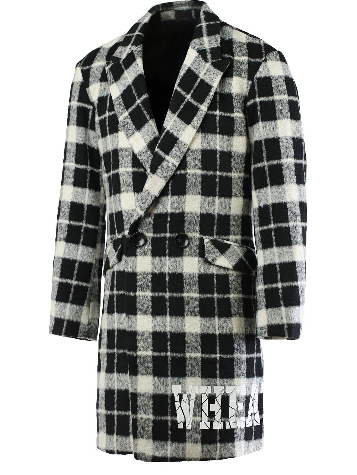 Trendy Lapel Collar Long Sleeve Black and White Checked Coat For Men - CHECKED 2XL