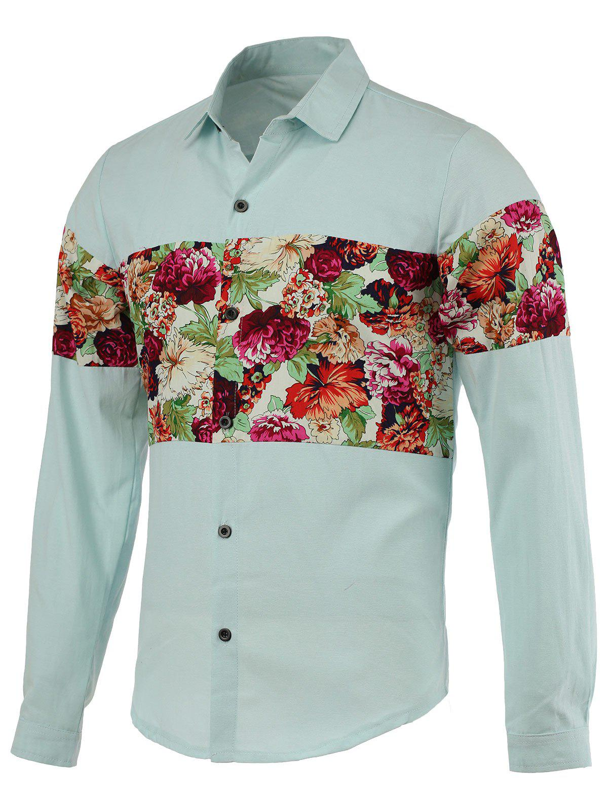 Turn-Down Collar Flowers Printed Splicing Design Long Sleeve Men's Shirt - BLUE 2XL