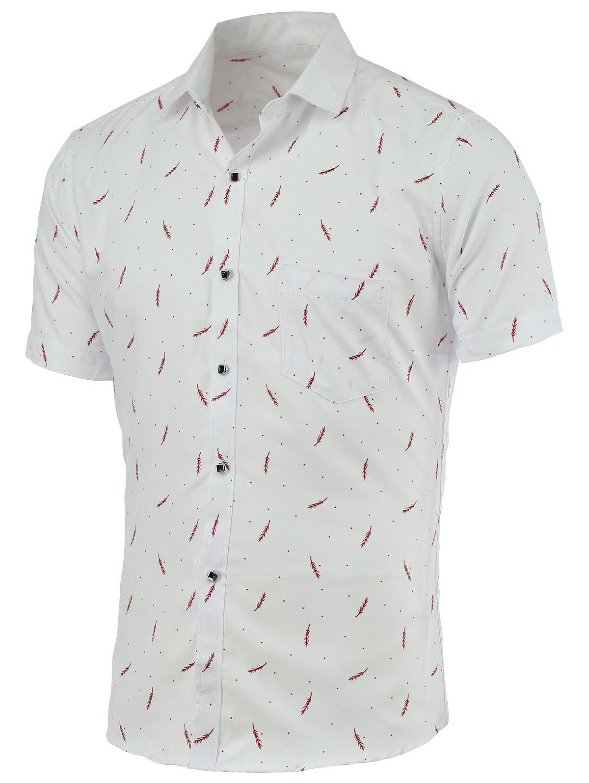 Refreshing Feather Desigh Turn-Down Collar Short Sleeves Shirt For Men - RED/WHITE 4XL