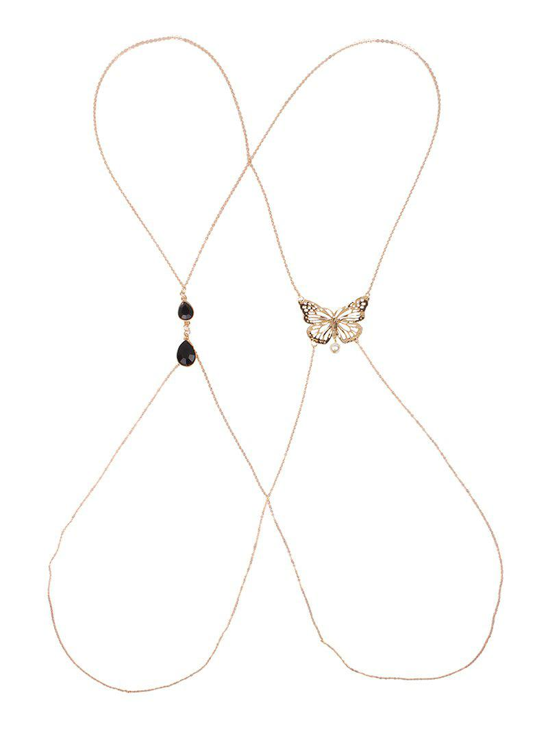 Hollow Out Butterfly Body Chain - GOLDEN