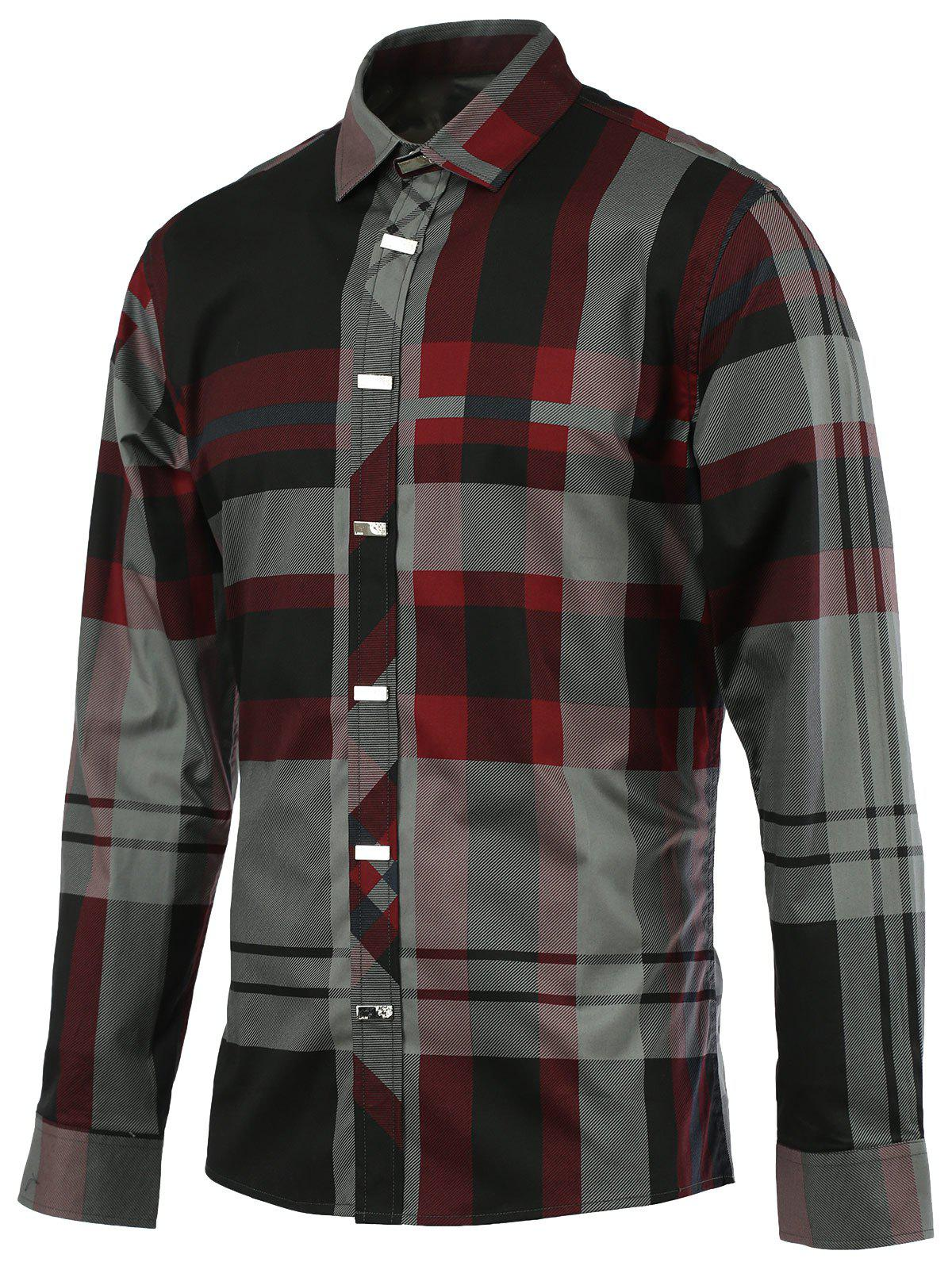 Turn-Down Collar Color Block Spliced Tartan Long Sleeve Men's Shirt - WINE RED 5XL