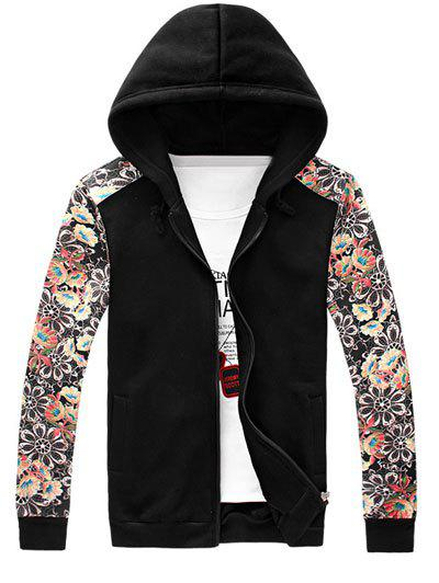 Stylish Tiny Flower Printed Zipper Fly Design Men's Hoodie - BLACK 4XL