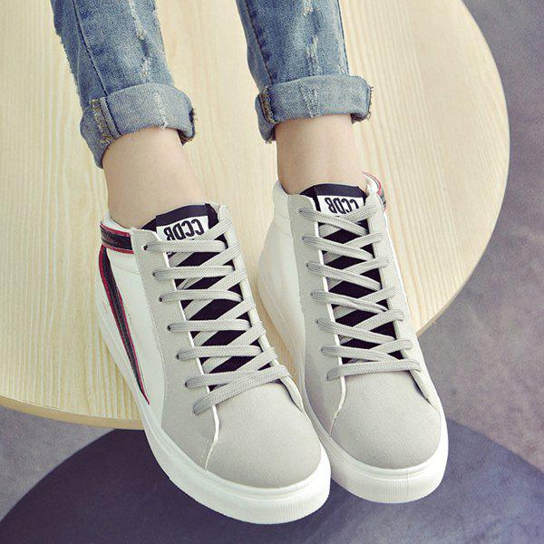 Casual Mid Top and Splicing Design Women's Sneakers - BLACK 39