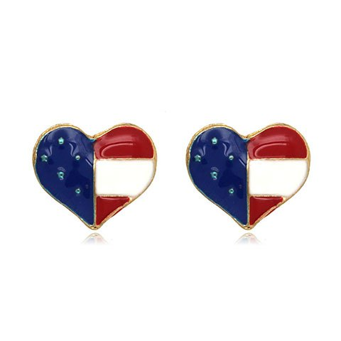 American Flag Heart Color Block Stud Earrings - BLUE