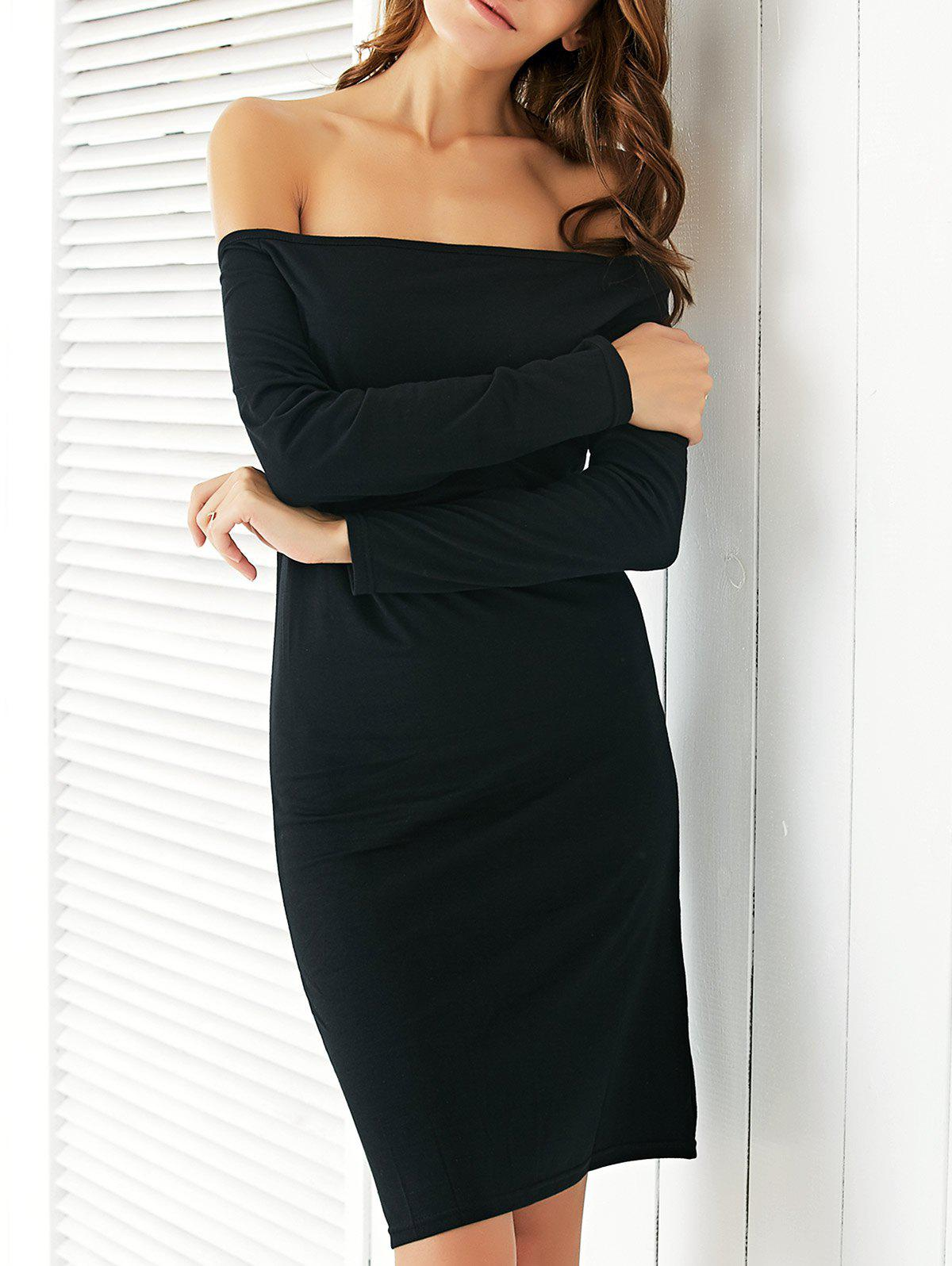 Chic Off The Shoulder Black Slimming Women's Dress - BLACK XL
