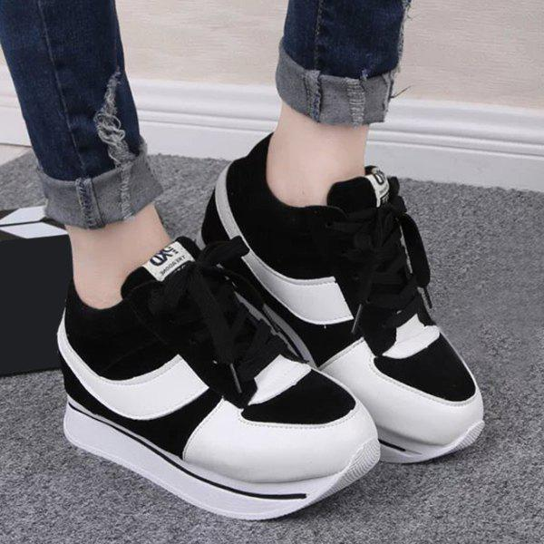 Stylish Splicing and Platform Design Women's Sneakers - BLACK 39