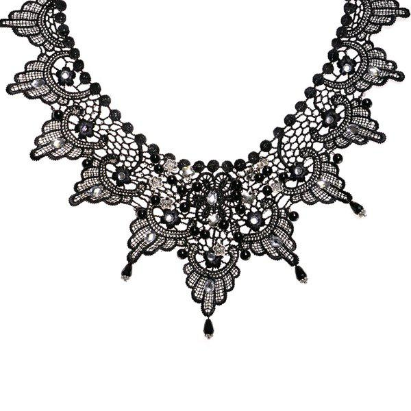 Chic Rhinestone Floral Fake Collar Necklace For Women - BLACK