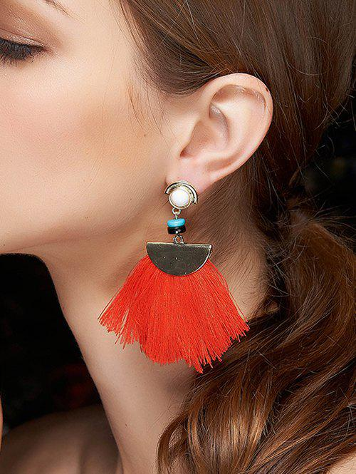 Stylish Semicircle Fringe Earrings - RED